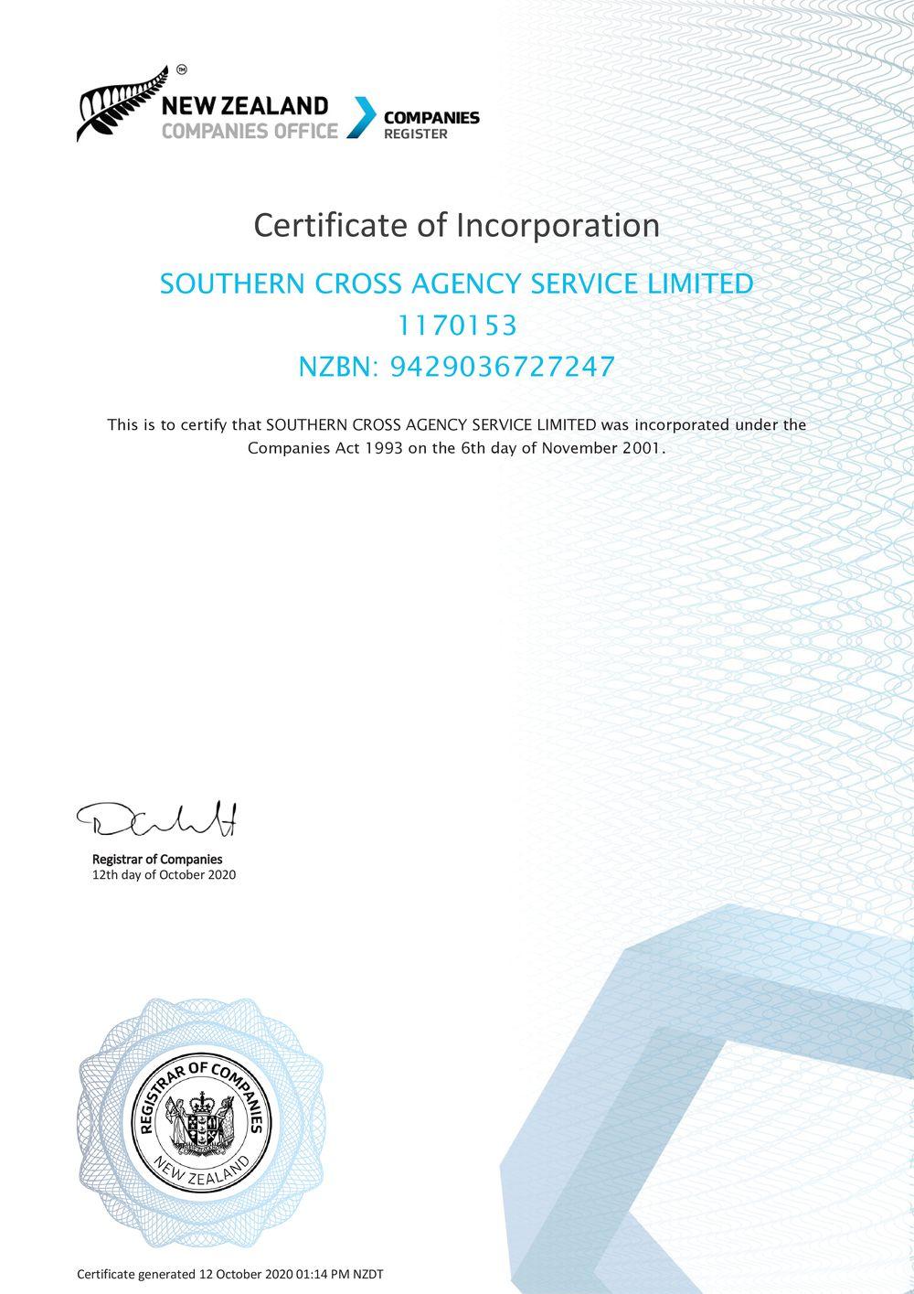 ニュージーランド政府企業登録証