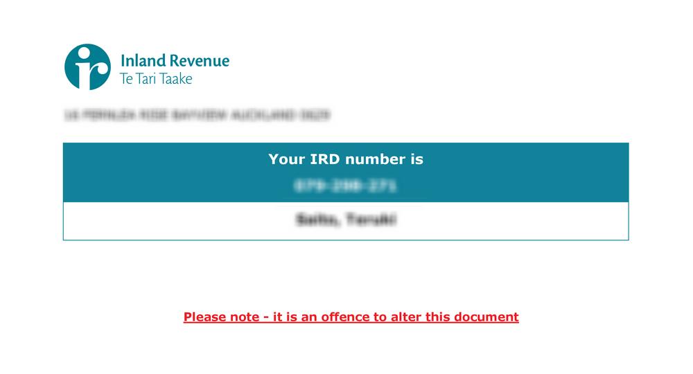 IRD番号の証明書